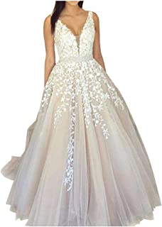 f7dd12511 Abaowedding Women s Wedding Dress for Bride Lace Applique Evening Dress V  Neck Straps Ball Gowns