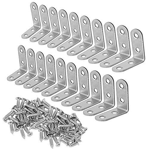 Escuadras Metalicas para Estanterias, 20 piezas 40 x 40 mm Soporte en forma de L de ángulo recto de 90 grados para silla de madera, con 80 tornillos