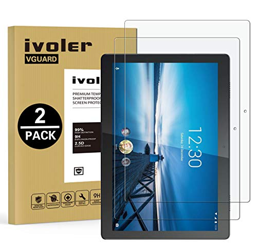 ivoler 2 Pack Screen Protector for Lenovo Tab M10 10.1 inch, Tempered Glass Film for Lenovo Tab M10 10.1 inch, [9H Hardness] [Anti-Scratch] [Bubble Free] [Crystal Clear]