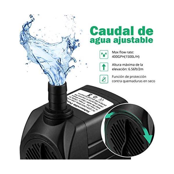 OMORC Bomba de Agua Sumergible con Filtro y 2 Boquillas AC220-240V Bomba de Agua Limpiable, Desmontable, para Acuario…
