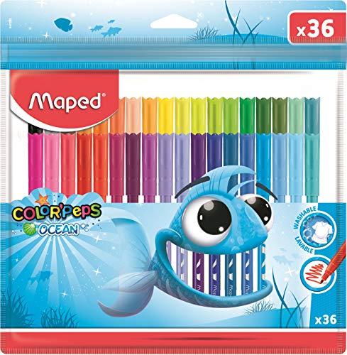 Maped - Estuche con cremallera de 36 rotuladores de tinta lavable