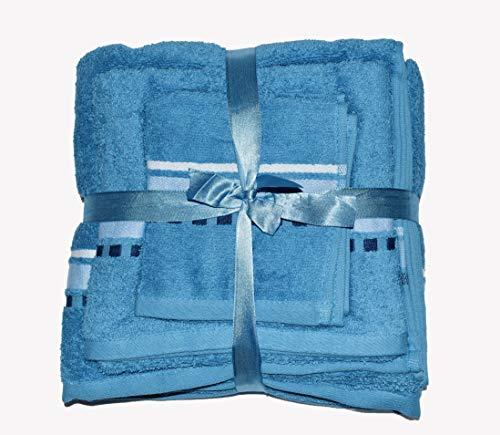 Exotic Cotton Juego de Toallas de Baño L 100 x 150 cm de Algodón Egipcio – 3 Piezas de Secado Rápido – Toalla de Cara 30x50 cm, Toalla de Mano 50x100 cm y Toalla de Ducha 100 x 150 cm – Toallas Azules