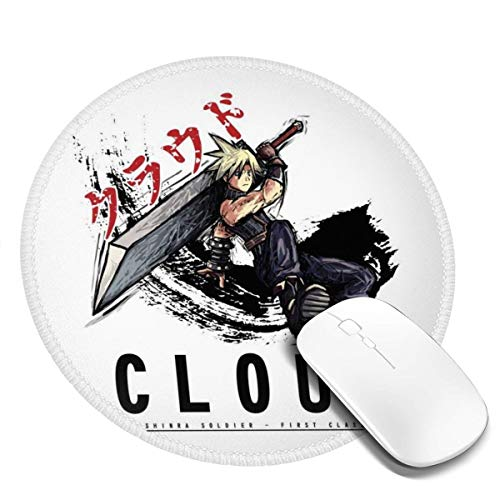 Final Fantasy Cloud Sketch Customized Designs Non-Slip Rubber Base Gaming Mouse Pads for Mac,7.9x7.9 in, Pc, Computers. Ideal for Working Or Game