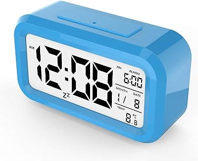 EGCLJ Reloj Despertador Electrónico LED Inteligente Reloj Fotosensible Luminoso Moda Reloj De Cabecera Estudiante Perezoso Posponer