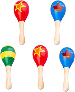 STOBOK Wooden Maracas Baby Rattle Toys Colorful Pattern Baby Grab Toys Educational Musical Instruments Toys Musical Rhythm...