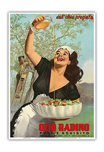 Olio Radino Italian Olive Oil - Puro e Squisito (Pure and Delicious) - Vintage Advertising Poster by Gino Boccasile c.1948 - Master Art Print - 13in x 19in