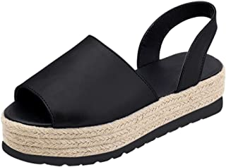 Women's Open Toe Espadrilles Platform Wedge Buckle Ankle Strap Imitation Leather Sandals Shoes (US:8, Black)