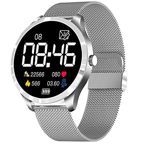 nJiaMe Inteligente Reloj 1.28inch Pantalla Bluetooth 5.0 rastreadores de la Aptitud con la Plata del sueño del Ritmo cardíaco Presión Arterial Supervisión