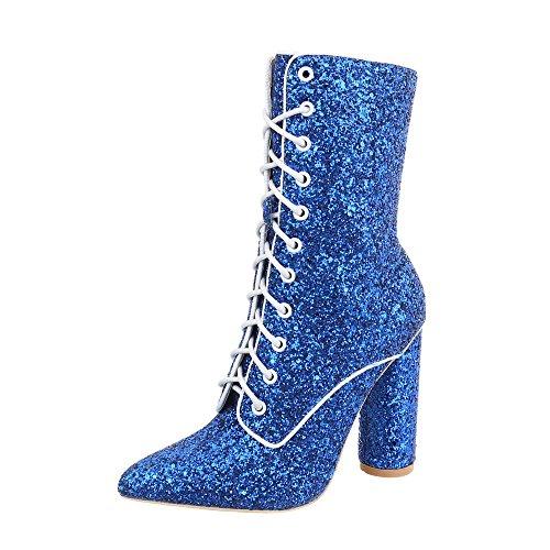 Ital-Design Schnürstiefeletten Damen-Schuhe Schnürstiefeletten Pump High Heels Schnürsenkel Stiefeletten Blau, Gr 36, Jr-002-