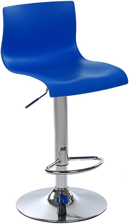 RUNWEI Bar Stool Bar Stool Wrought Iron High Stool Personality Bar Stool Anti-Slip Mat Seat (color   bluee, Size   60-80cm)