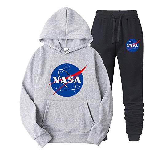 ATHIHOOD Unisex NASA Druck Jogginganzug Trainingsanzug Sportanzug Herren Tracksuit Hoodie Pullover + Sporthose XS-XXL (Grau-h,M)