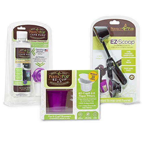 3-Item Bundle EZ-Cup 2.0 Reusable Coffee Pod Starter Kit + EZ-Scoop | 2-in-1 Coffee Scoop + Cafe Pure Descaling Solution Cleaning Kit | Compatible with Keurig and Select Single Serve Coffee Makers