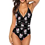 HACVREQ Black Hello Kitty Adult One Piece Swimsuit with Tape for Women Pools