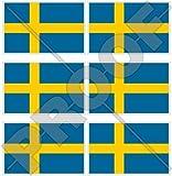 SCHWEDEN Schwedische Flagge, Fahne Sverige 40mm Mobile, Handy Vinyl Mini Aufkleber, Abziehbilder x6 Stickers