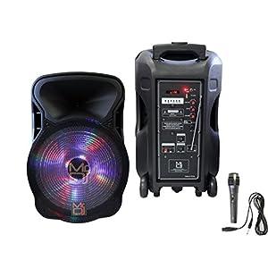 """Mr. Dj DJ12BAT 12"""" 2000 Watt Max Power Speaker with Built-in Bluetooth & Battery LCD/MP3/USB/MICRO SD"""
