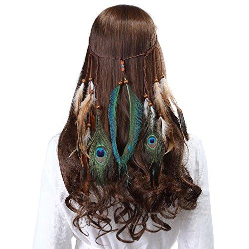 AWAYTR Pfau Feder Stirnband indisch Kopfschmuck - Boho Kopfstück Hippie Schick Maskerade Einstellbar Haar Band zum Frauen Mädchen Haarschmuck (Beige)