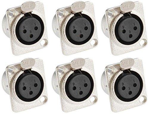 Adam Hall Connectors 7837-6er Set XLR-Einbaubuchse female 3-pol D-Typ silber Einbaukupplung