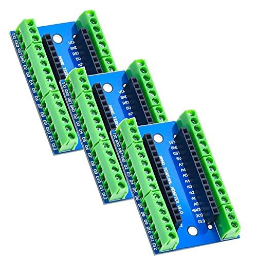 XTVTX 3 unids Nano Terminal Adapter Shield Junta de expansión compatible con Arduino Nano V3.0 AVR ATMEGA328P-AU módulo