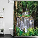 """Waterfall Modern Shower Curtain Stunning View of Waterfall in Kanjanaburi Stream Crossing Forest for Bathroom Showers, Stalls, Bathtubs Green Pale Coffee White 72"""" x 84"""""""