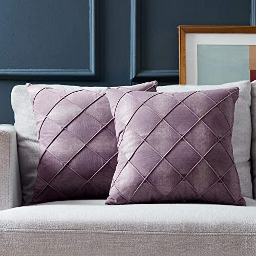Fancy Homi Pack of 2 Velvet Luxury Purple Decorative Throw Pillow Covers Soft Plaids Accent product image