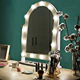 LUXFURNI Hollywood <span class='highlight'>Lighted</span> <span class='highlight'>Vanity</span> Makeup <span class='highlight'>Mirror</span> w/ 13 LED Lights, Touch Control Dimmable Cold/Warm Light, Adjus<span class='highlight'>table</span> Angle for Dressing <span class='highlight'>Table</span> (<span class='highlight'>white</span>)