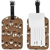 Etiqueta de Equipaje Hipster Brown Deers Head Texture Etiqueta de Viaje Titular de la Tarjeta de Nombre para el Equipaje Maleta Bolsa 2 Piezas