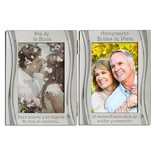Boda de plata en el 25 aniversario, plateado, marco de fotos de doble marco, plata mate y brillante, sostiene 2 fotos. Una para la boda y otra para el aniversario. Regalo Presente de los 25 años