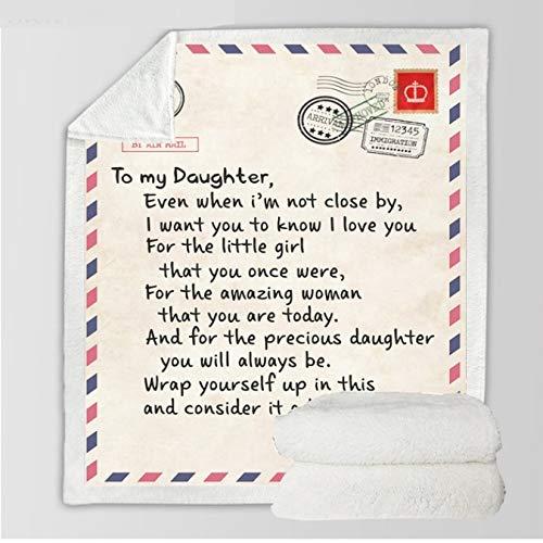FEJK Brief Briefe an Meine Tochter Express Liebesdecke 3D-Druck Sherpa-Decke auf dem Bett Heimtextilien Traumhafte Geschenkdecke 150 * 200Cm