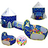 3pc Kids Play Tent for Boys with Ball Pit, Crawl Tunnel, Princess Tents for Toddlers, Baby Space World Playhouse Toys, Boys Indoor& Outdoor Play House, Perfect Kid's Gifts (3PC Blue Star Play Tent)