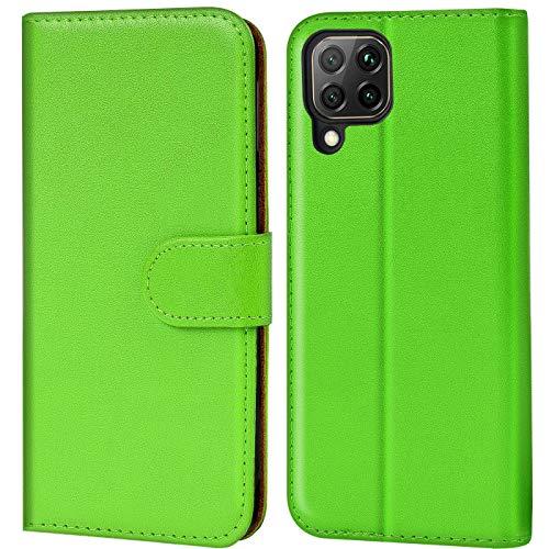 Verco Huawei P40 Lite Hülle, Handyhülle für Huawei P40 Lite Tasche PU Leder Flip Hülle Brieftasche, Grün