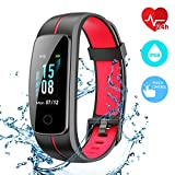 CHEREEKI Fitness Tracker, Waterproof IP68 Activity Tracker Touch Screen Smart Band with Heart Rate Monitor Sports Fitness Watch with Step Counter, Pedometer, Calorie Counter for Men Women Kids (Red)