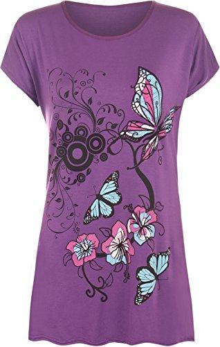WearAll New Womens Plus Size Butterfly Print Short Sleeve T - Purple - 18-20