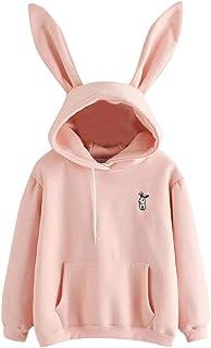 Ausexy Women Rabbit Hoodie Sweatshirt Blouse Long Sleeve Pocket Cute Pullover Tops for Girls