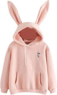 Ausexy Women Rabbit Hoodie Sweatshirt Blouse Long Sleeve Pocket Cute Pullover Tops for Girls