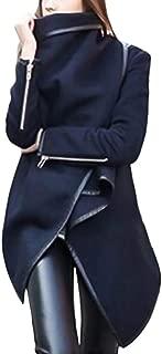 Pongfunsy Women Irregular Bow Zippers Sleeve Long Warm Coat Wool Jacket Windbreaker
