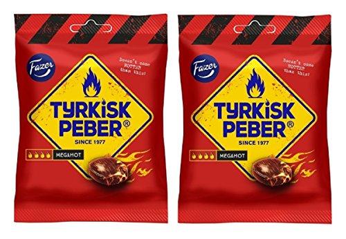 Fazer Tyrkisk Peber Mega Hot - Bolsa para caramelos de pimienta dura finlandesa extra fuerte, extra fuerte, salmiak, salmiakki, 120 g, paquete de 2