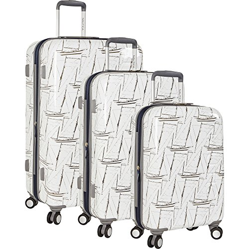 Nautica 3 Piece Hardside 4-Wheeled Luggage Set, White