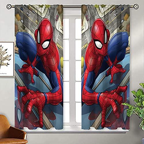WANFJCTHC Cortinas opacas con aislamiento térmico para los Vengadores, amigables con el vecindario Spiderman, con bolsillo para barra, cortinas de oscurecimiento con aislamiento térmico, 153 x 153 cm