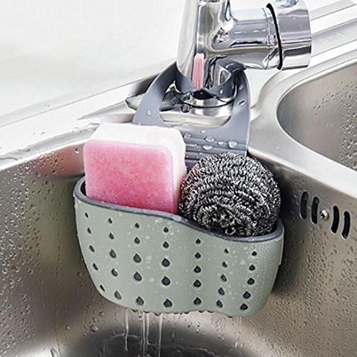 Sink Caddy Sponge Holder Soap Holder, kathson Green Plastic Saddle Faucet Caddy Desk Organizer Pen Holder
