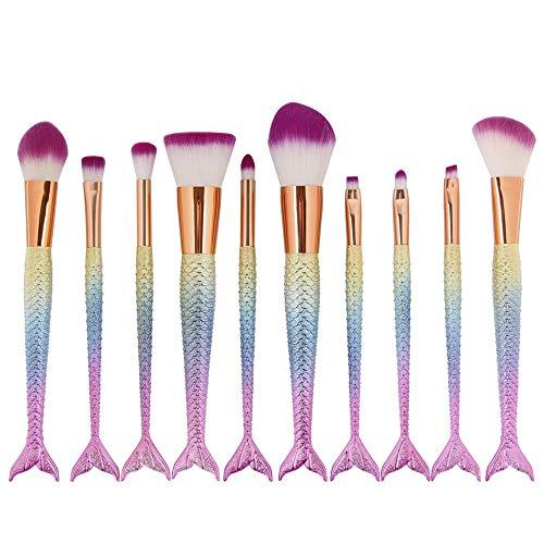 Pinceau Poudre Liquide Liquide Sirène Maquillage Pinceau Visage Ombre À Paupières Fond De Teint Blush Brosses À Lèvres (10pcs) Brosse douce (Color : Jaune, Size : One Size)