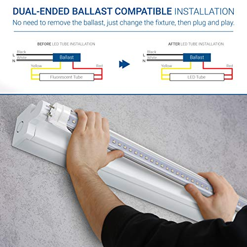 Hyperikon 4 Foot LED Tube, T8 T10 T12 40 Watt Fluorescent (18W), Dual End Ballast Compatible, Clear Lens, UL, DLC, Crystal White, 24 Pack