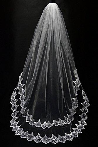Wedding Veil, Chapel length, White, Double layer lace edge