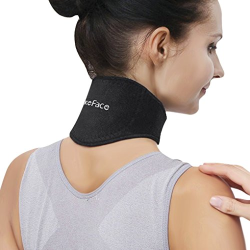 Medical Grade Neck Support Brace Strap for Neck Pain Relief and Bone Relaxer with Self Heating Neck Wrap and Tourmaline Adjustable Cervical Collar for Physical Therapy, Arthritis, Headaches