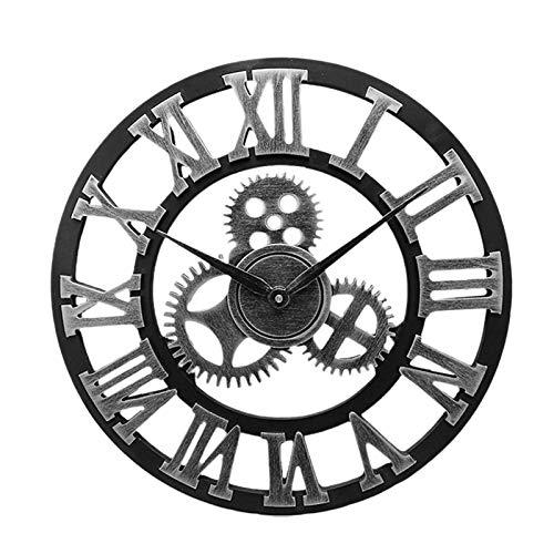 El tiempo es correcto Reloj de pared de engranaje industrial Reloj de pared retro decorativo Estilo industrial Decoración de la sala de la pared Decoración de la pared (sin batería) reloj de pared