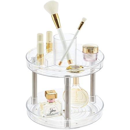 mDesign Spinning Lazy Susan - Bandeja giratoria de 2 niveles para maquillaje, organizador giratorio para encimeras de baño, tocadores, estaciones de cosméticos, tocadores, aparadores, transparente