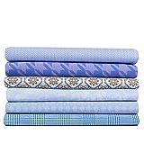 Paquete de tela azul claro/azul vaquero (6 x aprox. 50 cm x 75 cm) 100% algodón.