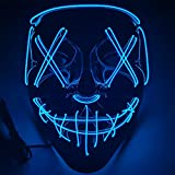 Ninevi mascaras de terror ,LED Máscaras Carnaval,mascarilla azul fiesta para Carnival Navidad Halloween Cosplay Grimace Festival Fiesta Show Mascarada