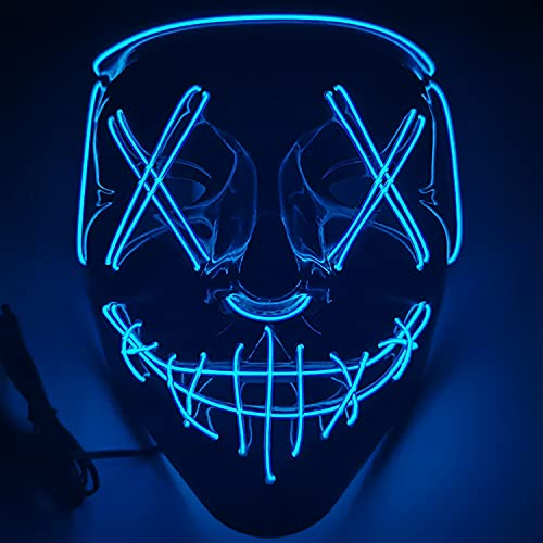 Ninevi mascaras de terror ,LED Máscaras Carnaval,mascarilla azul fiesta para...