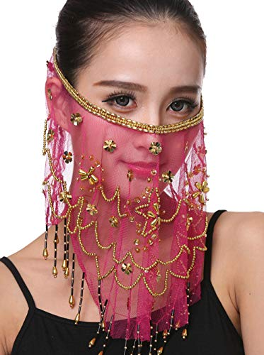 Women Belly Dance Face Veil with Beads Sequins Halloween Genie Costume Accessory Hot Pink