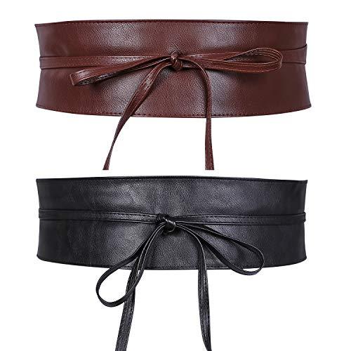 JasGood 2 Stück Damen Breiter Obi Gürtel Taillengürtel Taille Band für Damen Mädchen, Schwarz/Kaffe, Fit Taille 91-100cm